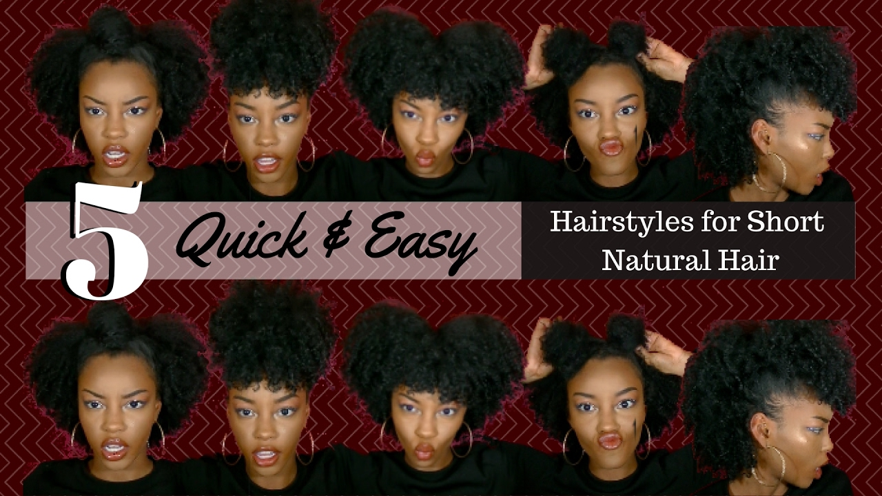5 quick & easy hairstyles on short natural hair!!