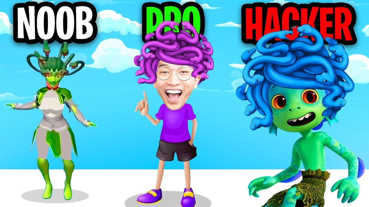 NOOB vs PRO vs HACKER In MEDUSA RUNNER 3D! (ALL LEVELS!)