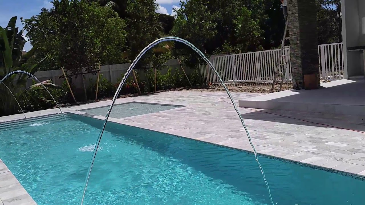 LED colored water spouts 11195 sw 65 av Pinecrest pool - YouTube
