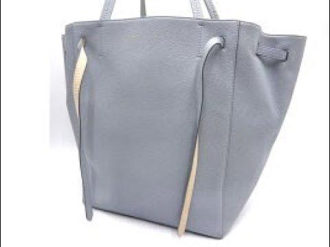 7ea081f771771 Auth CELINE Cabas Phantom Shoulder Tote Bag Calf Leather Light Blue 174143  A9650 – brand7