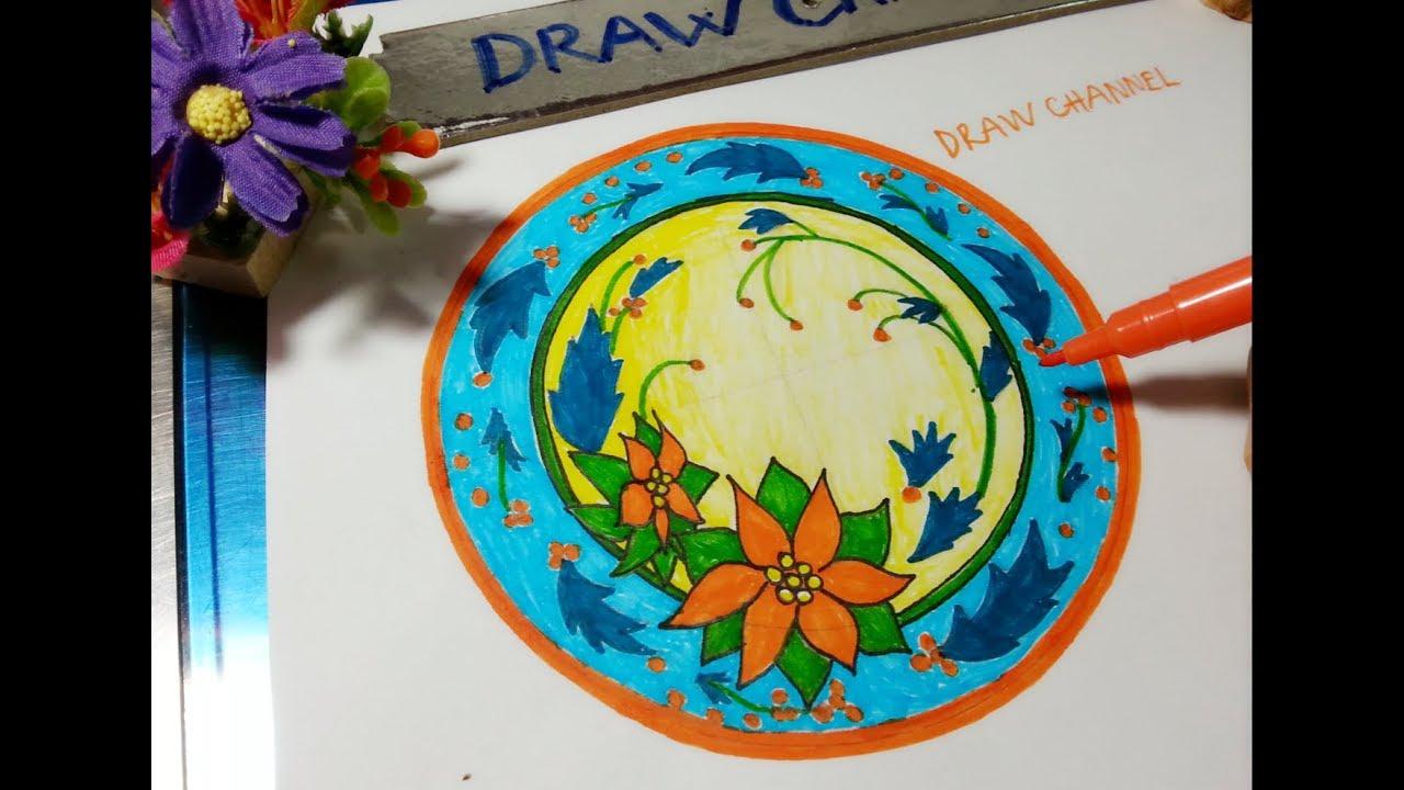 Hướng dẫn vẽ trang trí đĩa tròn đơn giãn nhất/ How to draw Simple circular decoration
