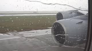 Lufthansa Airbus 380 Rainy Takeoff Shanghai Pudong to Frankfurt October 2017