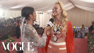 Elle Fanning on Her Malibu Barbie Met Gala Look | Met Gala 2019 With Liza Koshy | Vogue