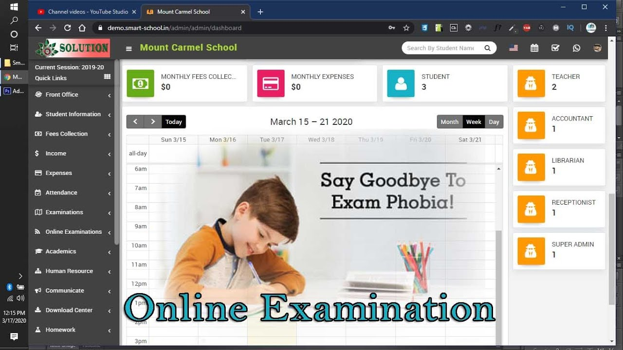 Online Examination system in Smart School Software