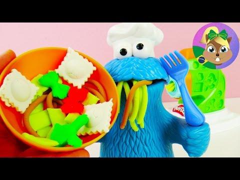 PLAY DOH FÁBRICA DE MASSA COM O MASTERCHEF MONSTRO COME-COME - criações culinárias playdoh