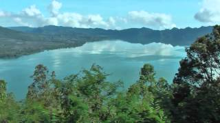 The lake, Danau Batur, is the largest crater lake on the island of Bali, Indonesia
