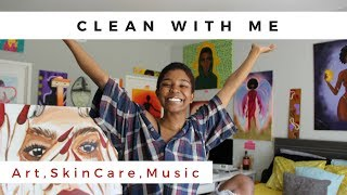 CLEAN WITH ME | ART ROOM Tour & Playlist