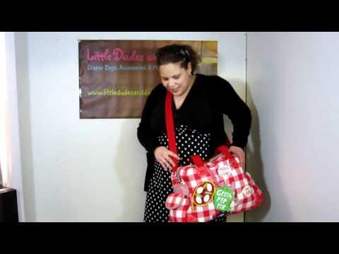 Room Seven Luigi Red Pizza Diaper Bag Worn on Body