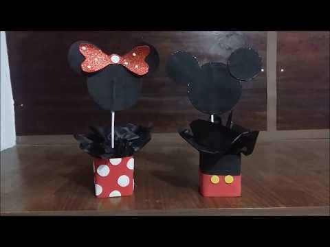 Centro de mesa Mickey e Minnie Fácil e barato