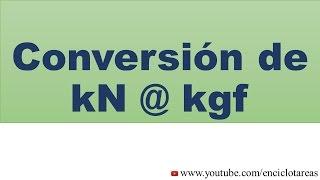 Convertir de kilonewton a kilogramos—fuerza (kN a kgf)
