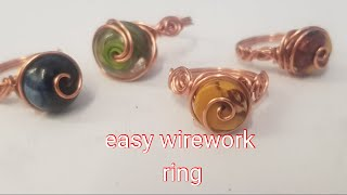Simple  easy beginner wire wrapped ring using wheel or rondelle type beads