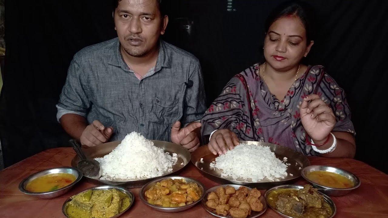 Eating With Ilish , Mutton & Chingri Eksathe Khelam /  Delicious Eating Show