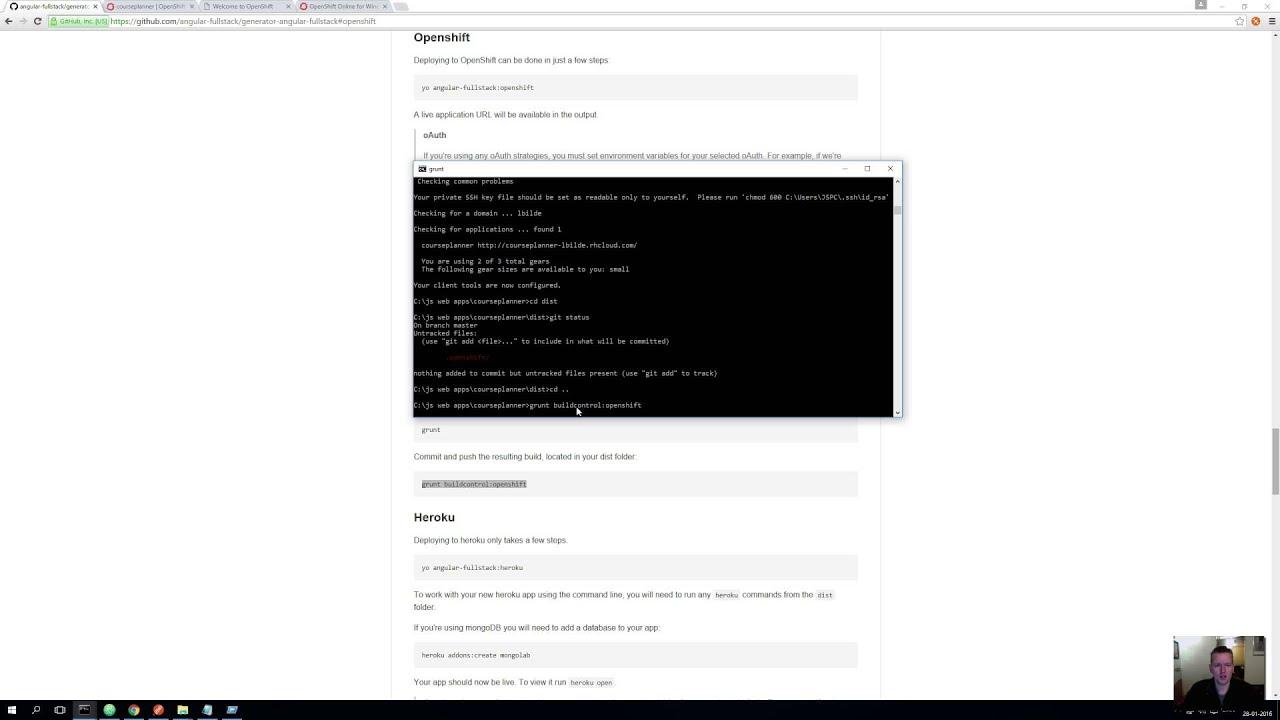 JS Web apps - Openshift - First deployment - A bit of a pain