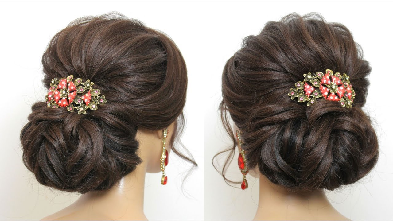 New Bridal Hairstyle For Long Hair. Wedding Low Bun Updo