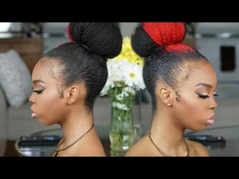 Natural Hair Tutorial Sleek High Bun Princess Bun Youtube