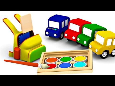 COMPILATION 14 min: Quatre voitures #4voitures🚗: couleurs, chiffres et jeux. Dessin animé éducatif