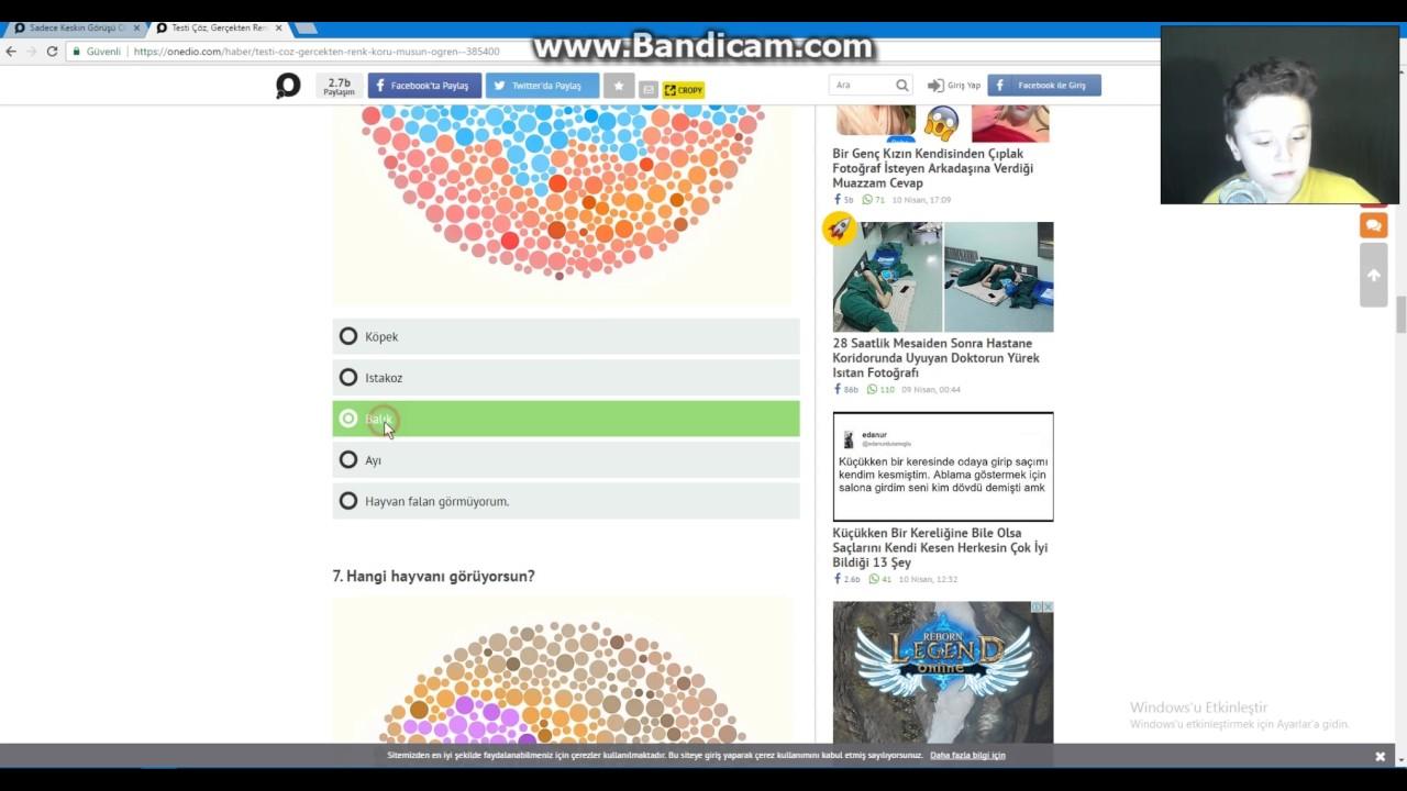 Onedio Renk Körlüğü Testi Youtube