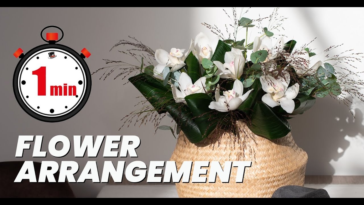1 MINUTE TUTORIAL: How to make a hand tied Cymbidium bouquet with greens | DIY orchid arrangement