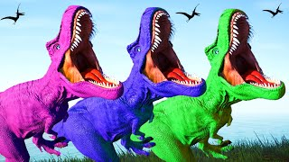 Colorful T-Rex Vs I-Rex, Spinosaurus, Godzilla, Stegoceratops Fighting - Jurassic World Evolution