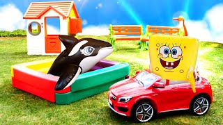 Смешное видео с игрушками   Детская площадка для Супер Деток   Видео игры в  Школе Супергероев.