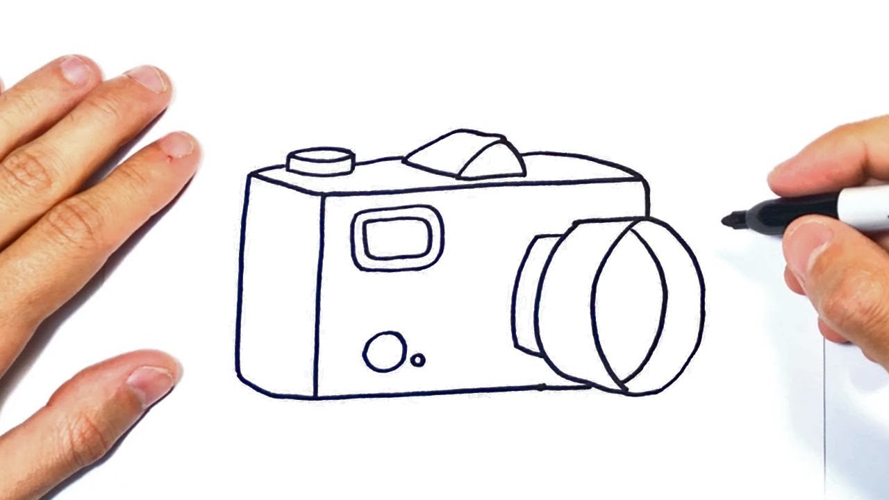 Como Dibujar Una Cámara De Fotos O Cámara Fotográfica Youtube