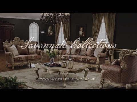 Victorian Living Room Collection in Antique White by Savannah Collections - Aico