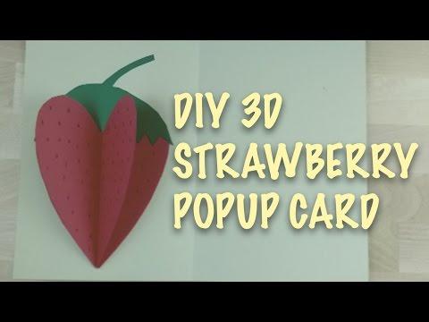[Paper Craft Tutorial] Super Cute 3D Strawberry Popup Card!