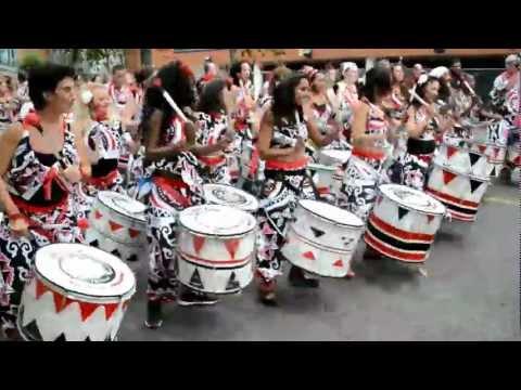 Notting Hill Carnival Batala Samba Reggae and Capoeira martial art band (HD)