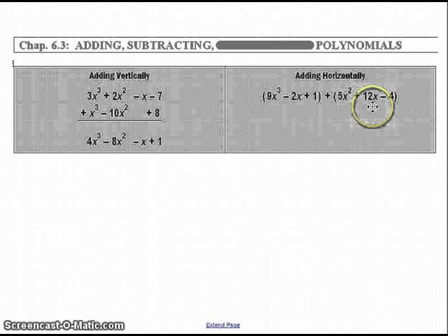 Copy Of Adding And Subtracting Polynomials Lessons Tes Teach