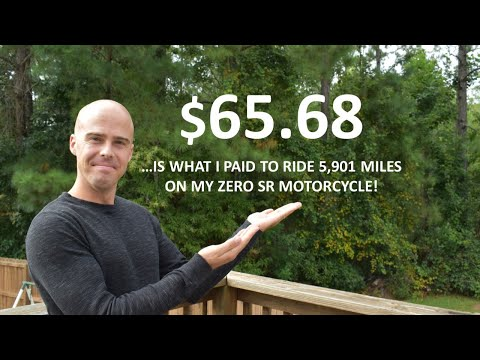 """""""Fuel"""" Cost of the Electric Zero SR Motorcycle After 1 Year vs. 50 MPG Gas Motorcycle"""