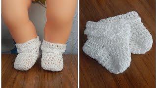 Одежда для кукол крючком. Носочки с рюшами.