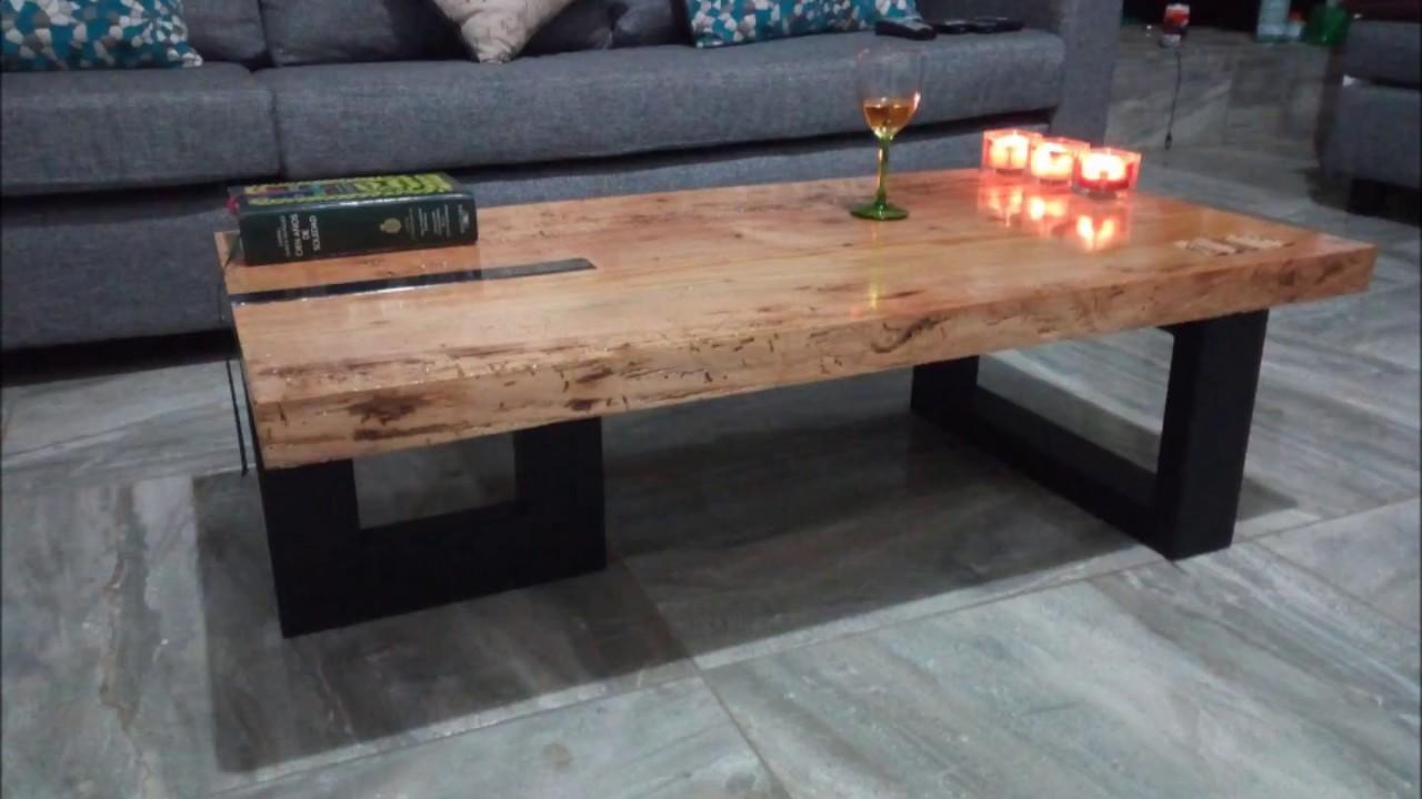 Diy mesa de centro acero y madera reciclada youtube for Centros de mesa de madera