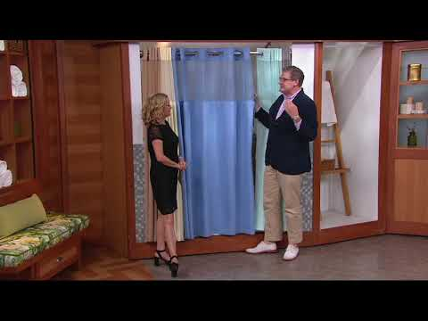 Hookless Mini Square Jacquard Shower Curtain w. Fabric Liner on QVC