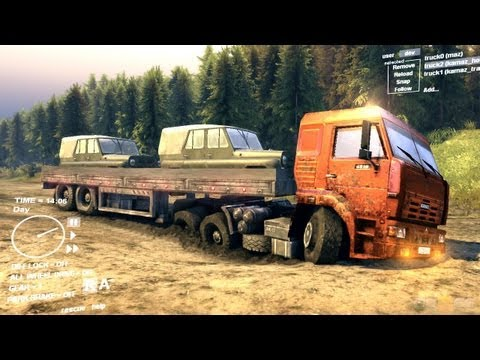 Spin Tires Dev Demo July 2013 - Orange Kamaz + Trailer Transporting 2 UAZ Part 1