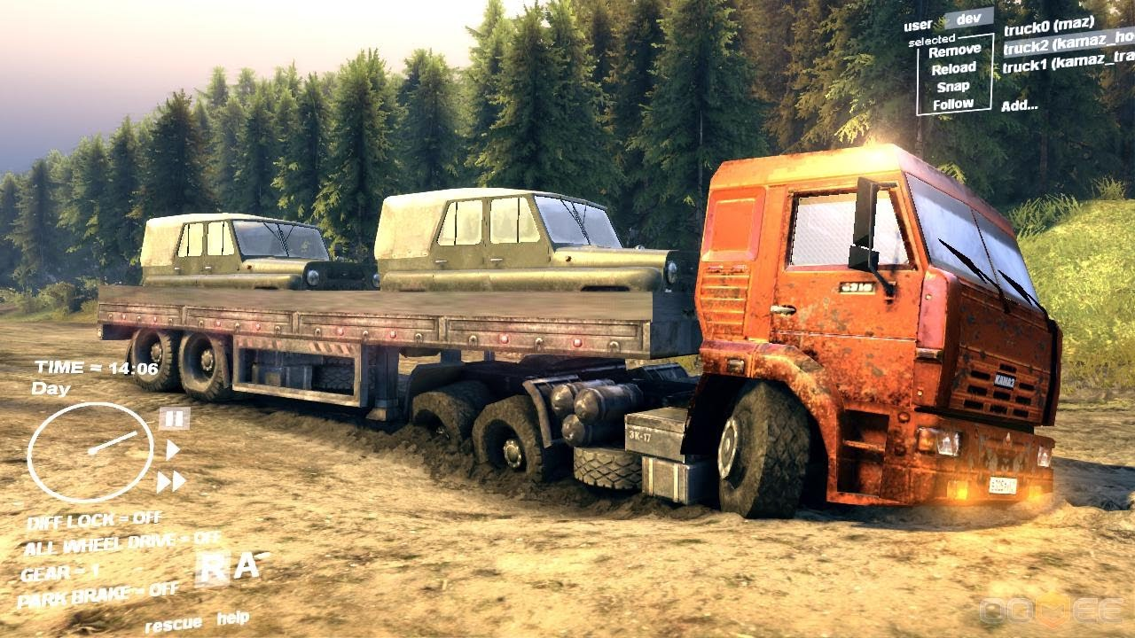 Spin Tires Dev Demo Truck Trailer Transporting 2 Jeep
