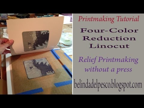 Printmaking Demonstration Four Color Reduction Linocut 5 Minutes