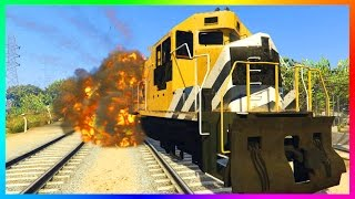 GTA ONLINE FREEMODE MADNESS - ULTIMATE STOPPING THE TRAIN ATTEMPT, DUMP TRUCK FREEFALL & MORE!