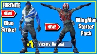 NEW Wingman Starter Pack & Blue Striker Outfits Gameplay - FORTNITE