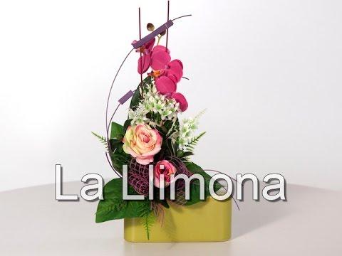 Arreglos Florales Jardinera Cerámica Rosas Artificiales Bicolor Y Orquideas La Llimona