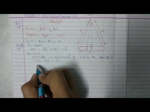 Chapter 6 Exercise 6.5 (Q15) class 10 || Triangles || Math tutor