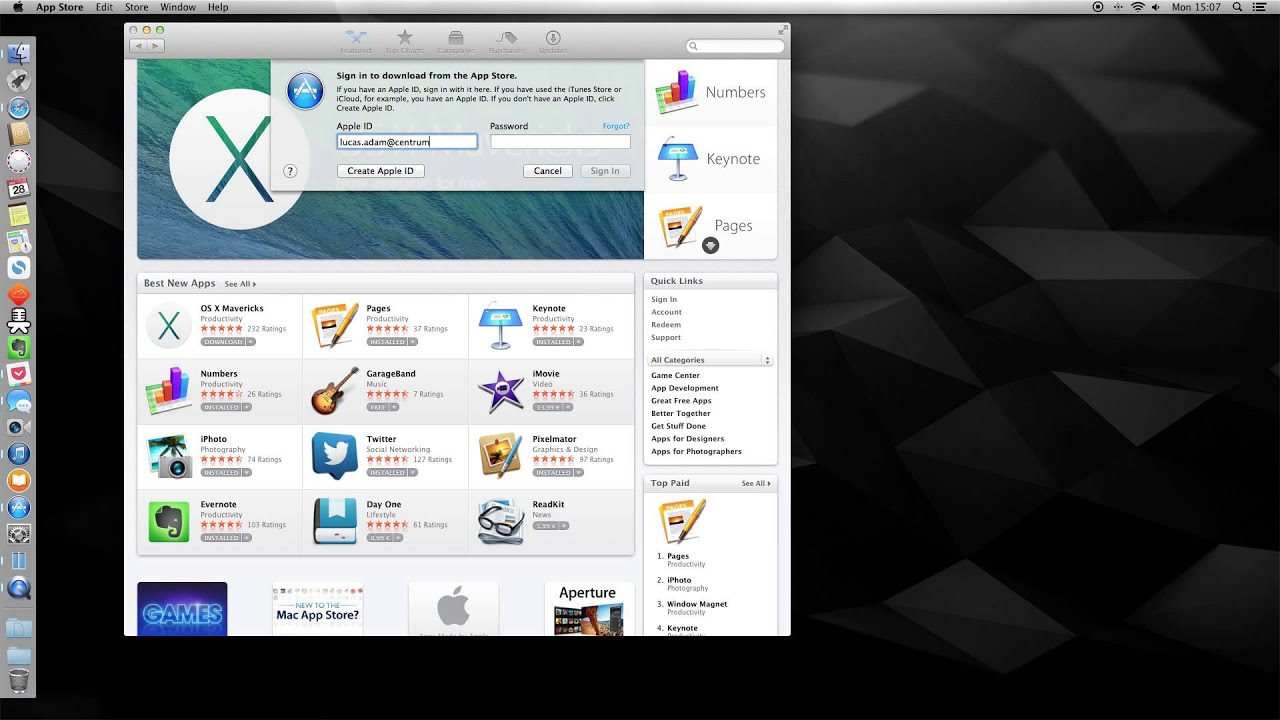 How To - Sign In/Off appstore on Mac OS X 10 9 Mavericks