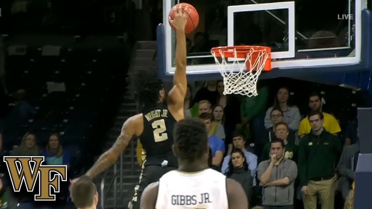 Wake Forest's Sharone Wright Jr. Hammers The Dunk At Notre Dame