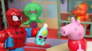 Peppa Pig Goes To Barney School & Lego Duplo Spiderman Disney Princess Sofia The First ♥ Shopkins