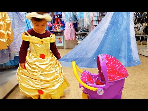 Little Princess Pushing Pink Stroller /  Princess Dresses / Kids Song