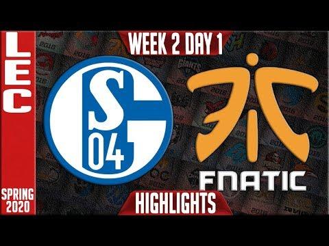 S04 vs FNC Highlights | LEC Spring 2020 W2D1 | Schalke 04 vs Fnatic