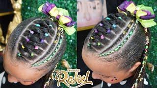 Recogido Alto Con Ligas Y Trenza Cosida/ Hairstyle for girls/ FÁCIL y Casual