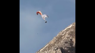 Paragliding accidents- fall into the canopy, reserve entangled-side view, crash