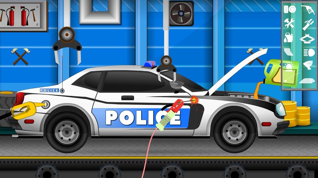 police car police car repair car wash videos for kids