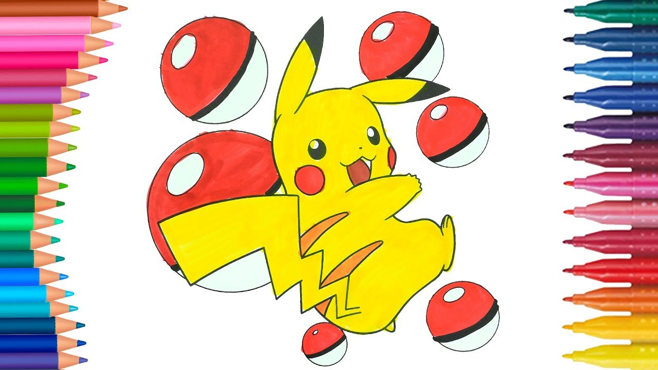 Dibujar Y Colorea Pokemon Pikachu Dibujos Para Niños Learn Colors