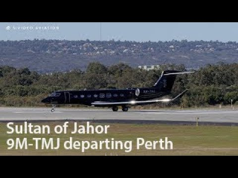 Sultan of Johor (9M-TMJ) is Back in Black at Perth Airport.